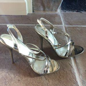 Aldo Strappy Gold Stilettos Perfect Condition